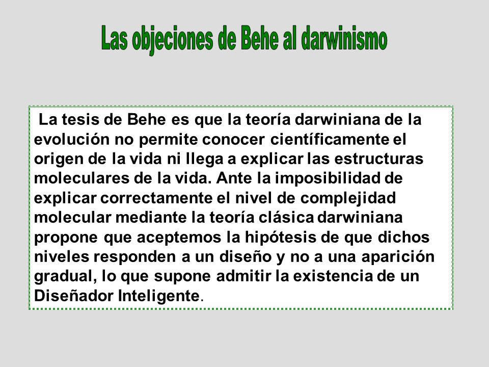Las objeciones de Behe al darwinismo
