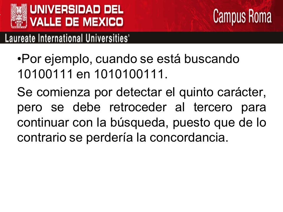 Por ejemplo, cuando se está buscando 10100111 en 1010100111.