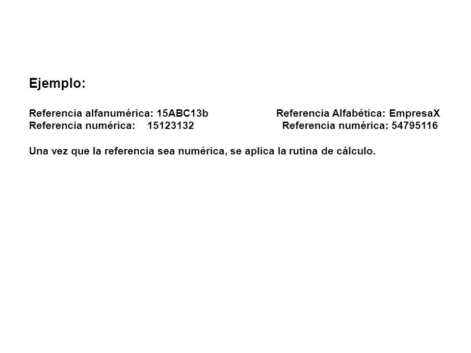 Ejemplo:Referencia alfanumérica: 15ABC13b Referencia Alfabética: EmpresaX.