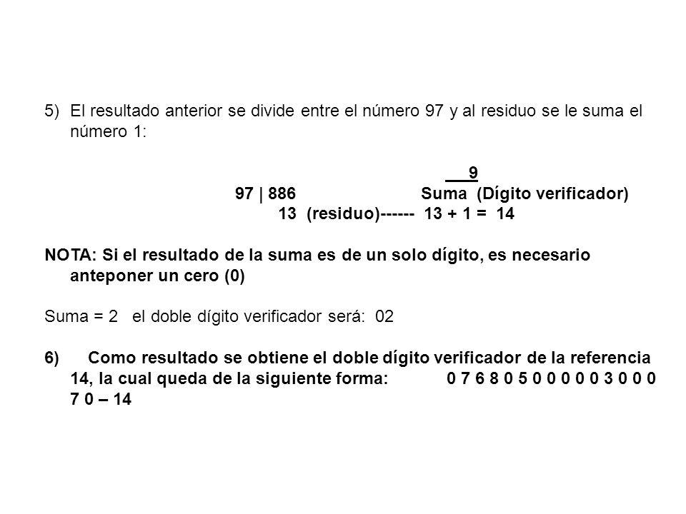 El resultado anterior se divide entre el número 97 y al residuo se le suma el número 1: