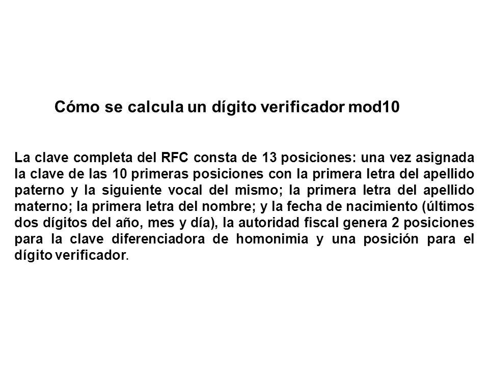 Cómo se calcula un dígito verificador mod10