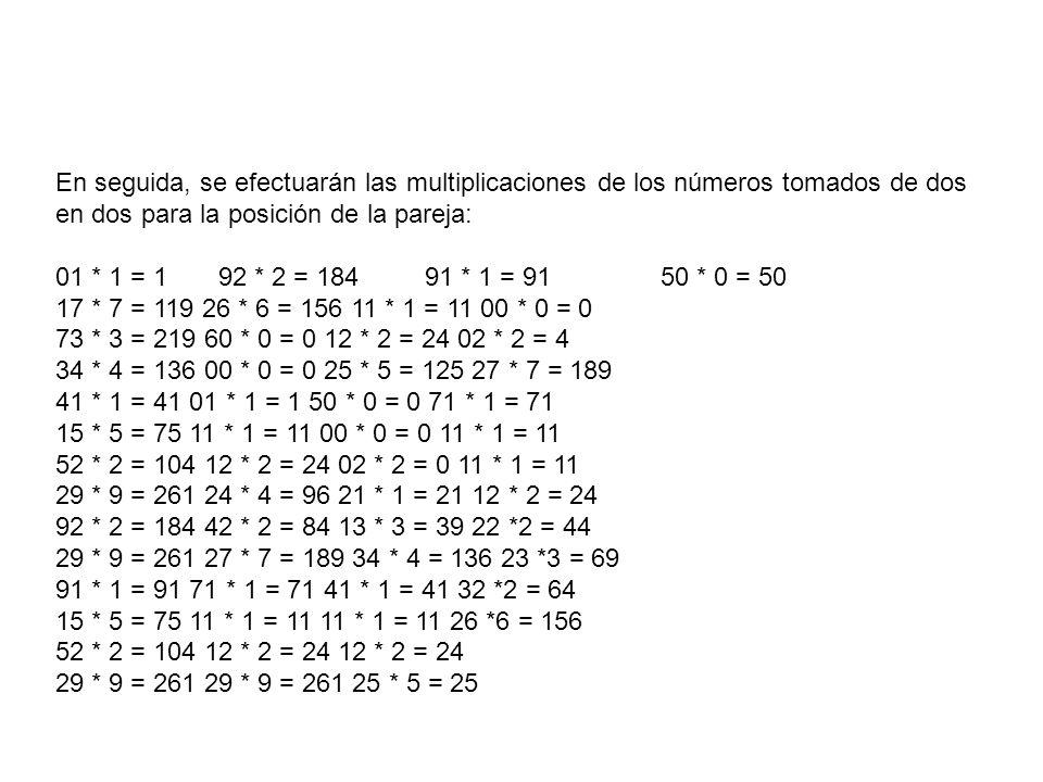 En seguida, se efectuarán las multiplicaciones de los números tomados de dos en dos para la posición de la pareja: