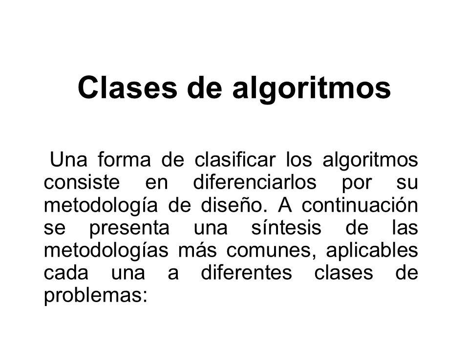 Clases de algoritmos