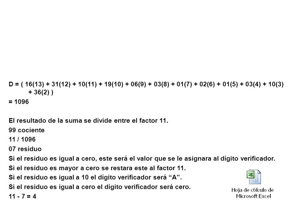 Ejemplo: D = ( 16(13) + 31(12) + 10(11) + 19(10) + 06(9) + 03(8) + 01(7) + 02(6) + 01(5) + 03(4) + 10(3) + 36(2) )