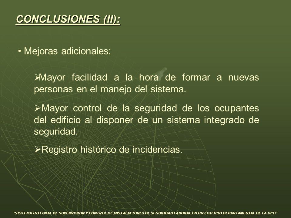 CONCLUSIONES (II): Mejoras adicionales: