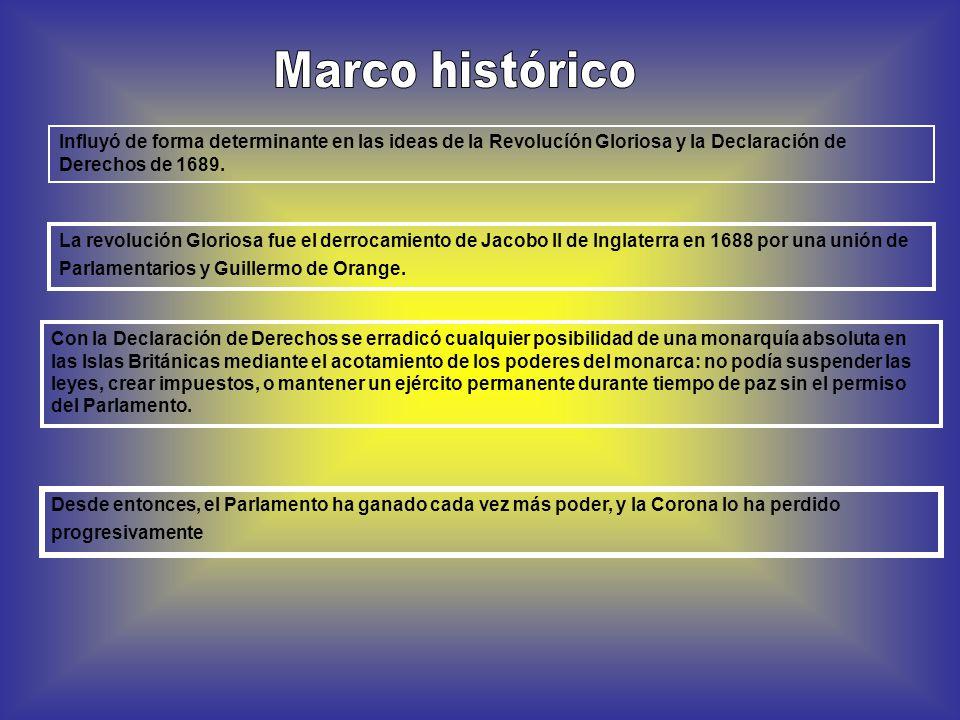 Marco histórico Influyó de forma determinante en las ideas de la Revolucíón Gloriosa y la Declaración de Derechos de 1689.