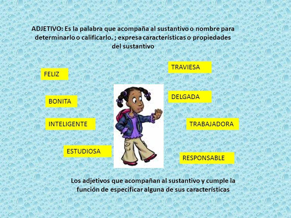 ADJETIVO: Es la palabra que acompaña al sustantivo o nombre para determinarlo o calificarlo. ; expresa características o propiedades del sustantivo