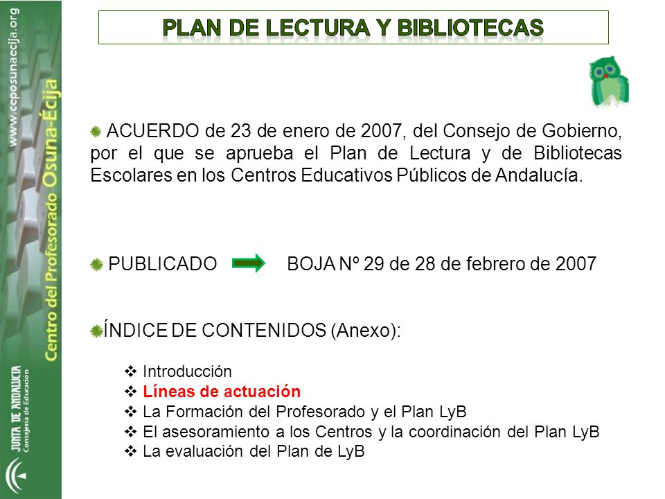 PLAN DE LECTURA Y BIBLIOTECAS