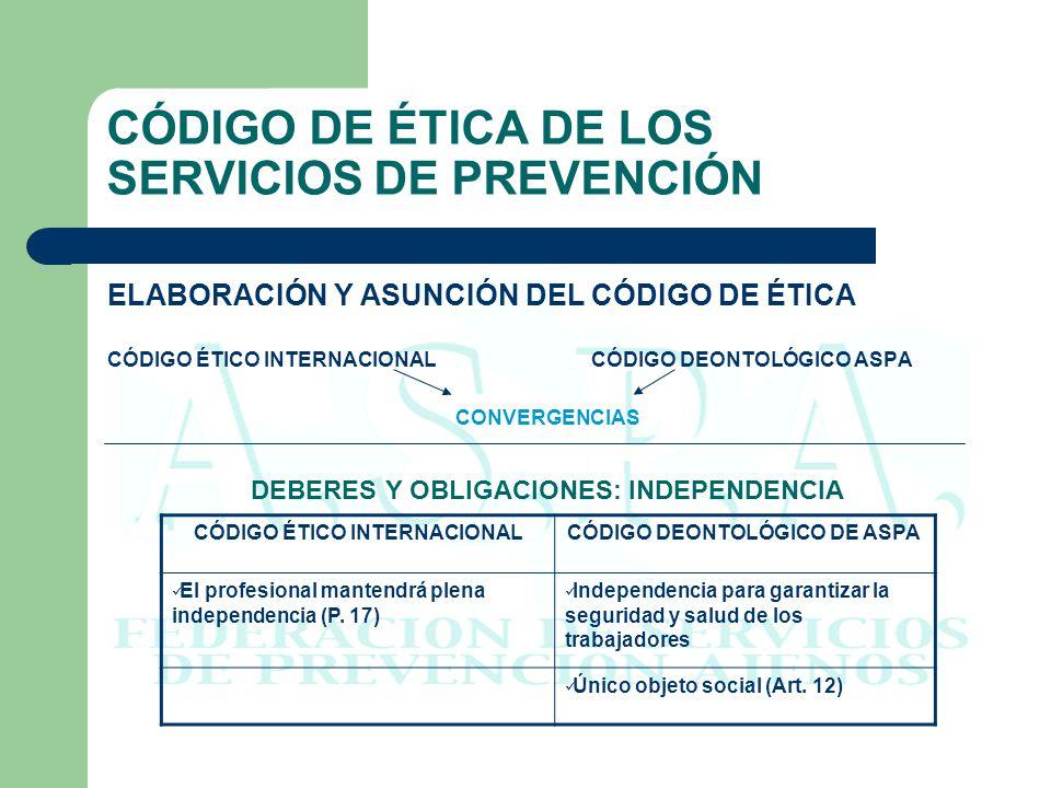 CÓDIGO DE ÉTICA DE LOS SERVICIOS DE PREVENCIÓN