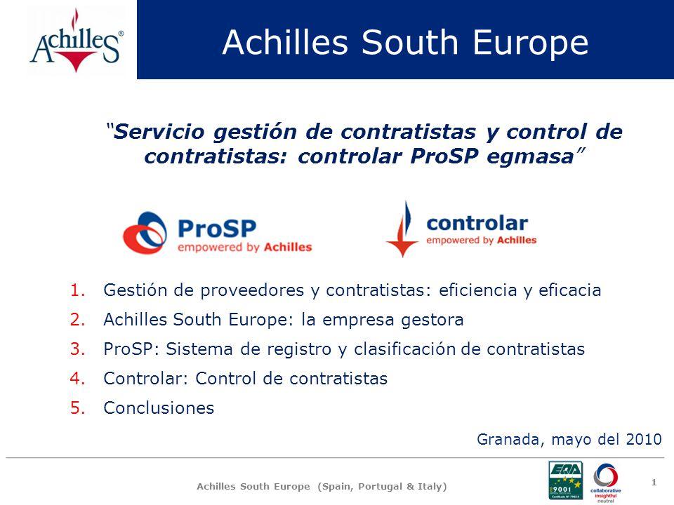 Achilles South Europe Servicio gestión de contratistas y control de contratistas: controlar ProSP egmasa