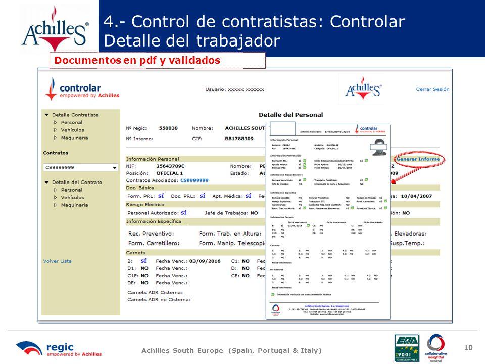 4.- Control de contratistas: Controlar Detalle del trabajador