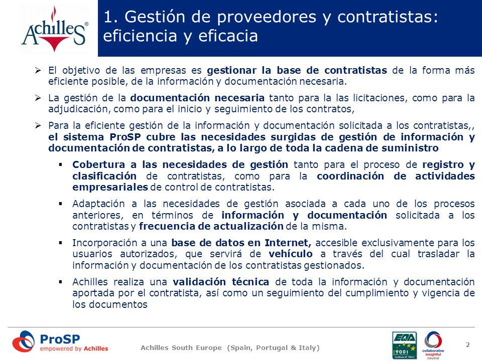 1. Gestión de proveedores y contratistas: eficiencia y eficacia