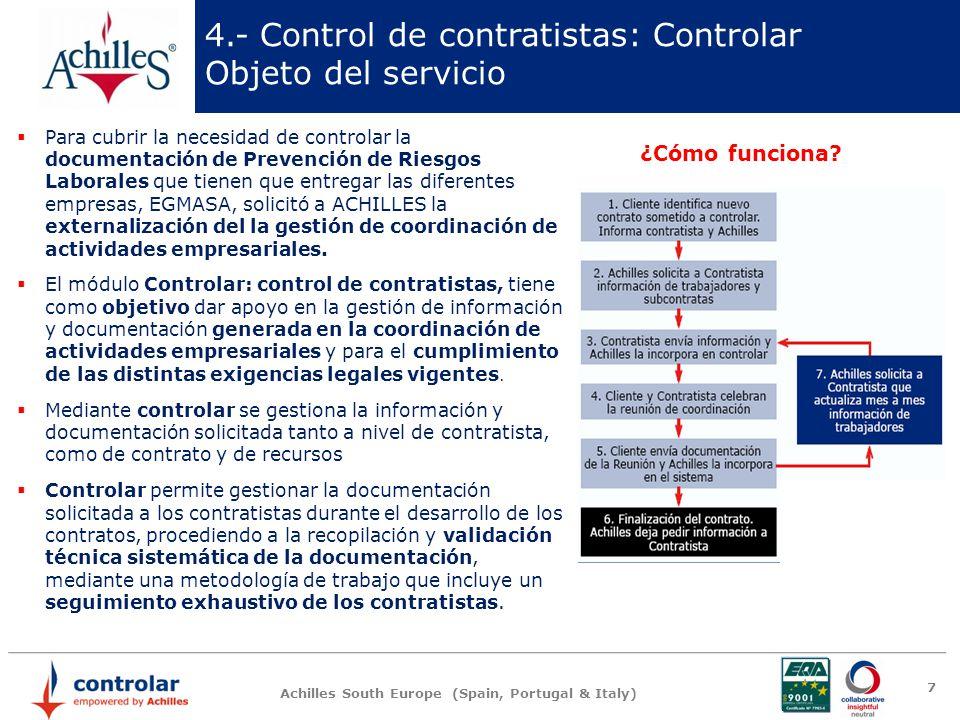 4.- Control de contratistas: Controlar Objeto del servicio