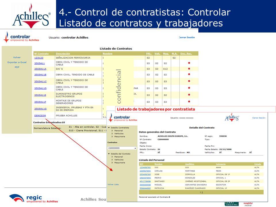 4.- Control de contratistas: Controlar Listado de contratos y trabajadores