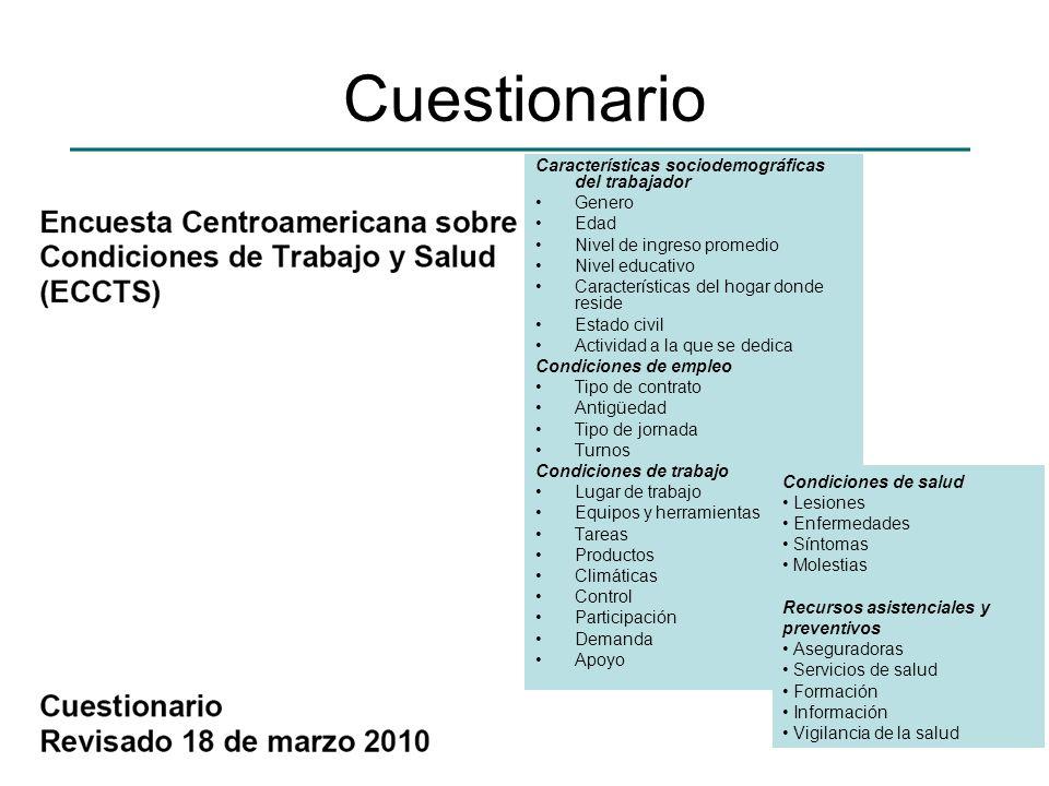 Cuestionario Características sociodemográficas del trabajador Genero