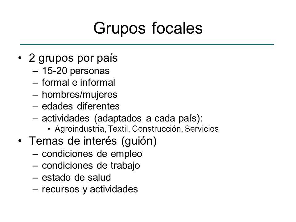 Grupos focales 2 grupos por país Temas de interés (guión)
