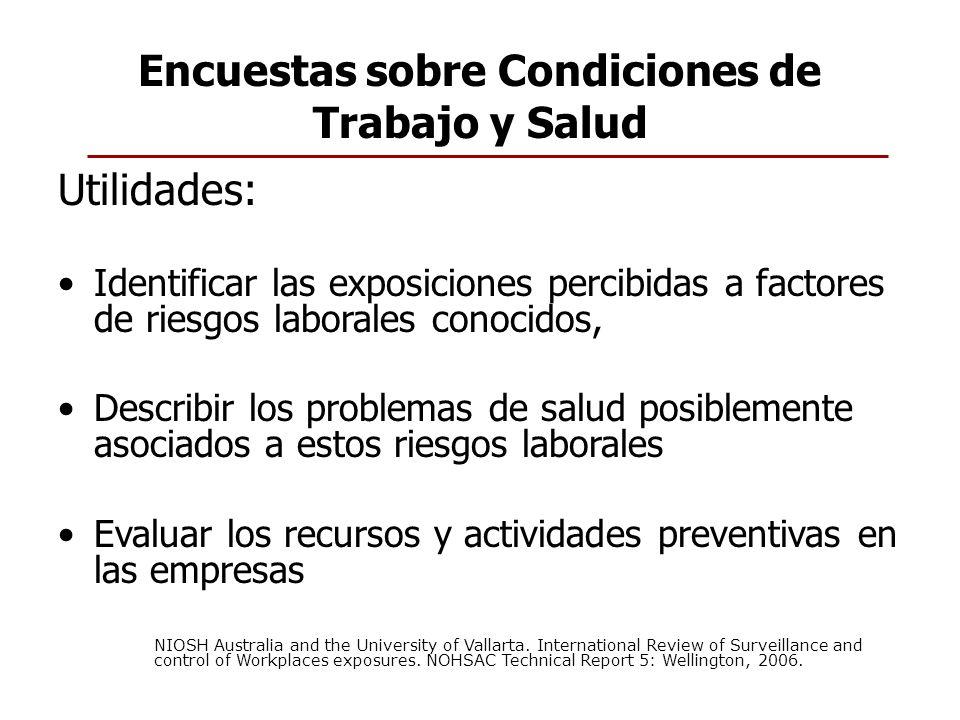 Encuestas sobre Condiciones de Trabajo y Salud