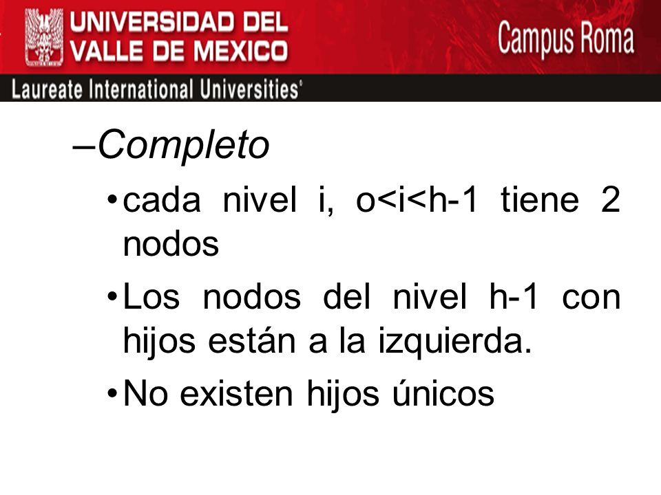 Completo cada nivel i, o<i<h-1 tiene 2 nodos