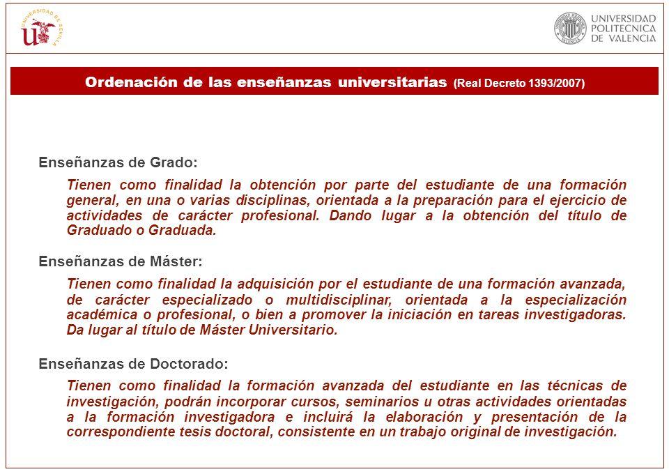 Ordenación de las enseñanzas universitarias (Real Decreto 1393/2007)