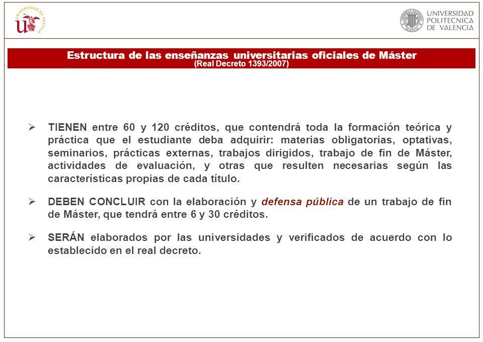 Estructura de las enseñanzas universitarias oficiales de Máster