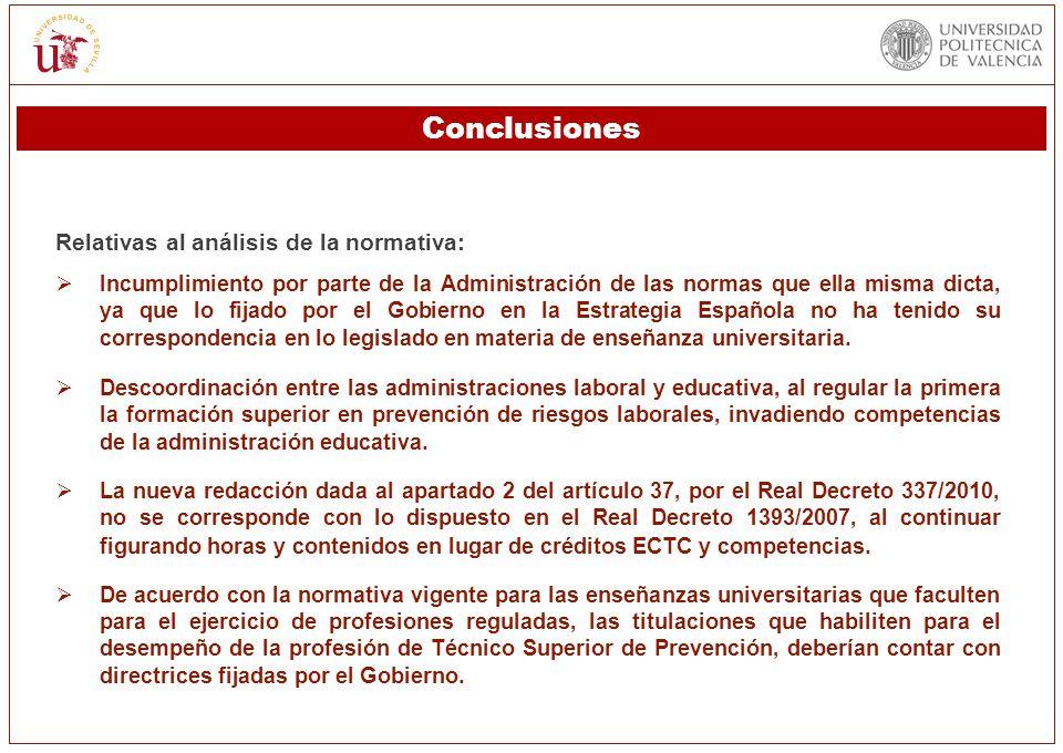 Conclusiones Relativas al análisis de la normativa: