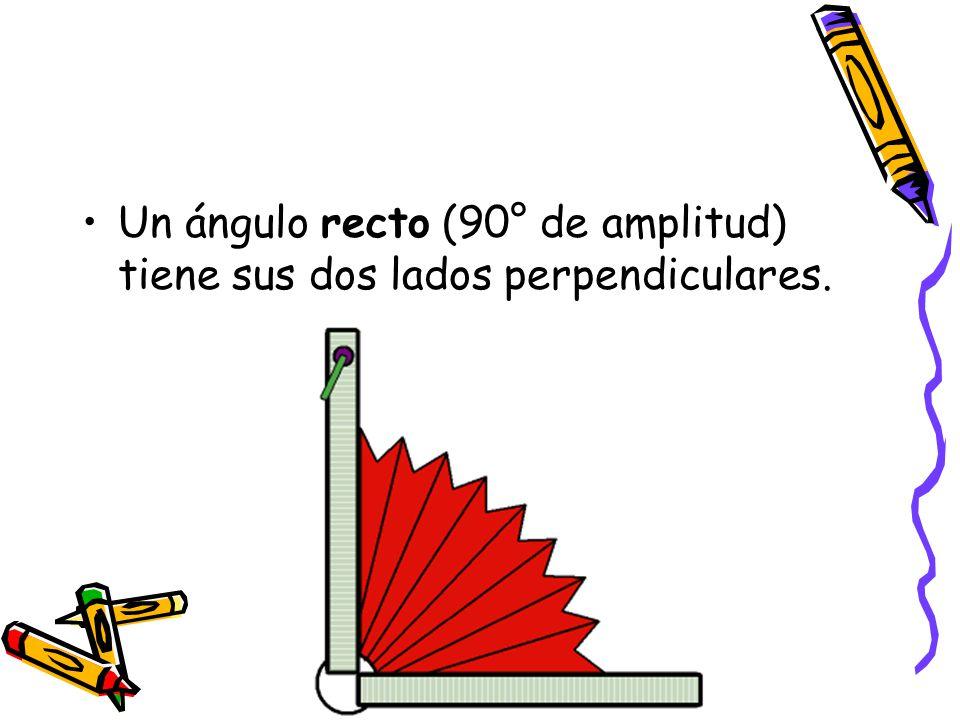 Un ángulo recto (90° de amplitud) tiene sus dos lados perpendiculares.