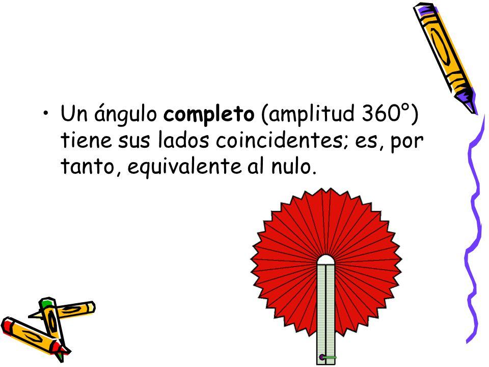 Un ángulo completo (amplitud 360°) tiene sus lados coincidentes; es, por tanto, equivalente al nulo.