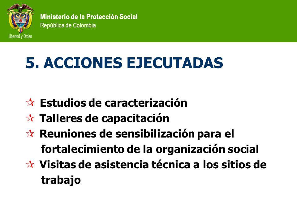 5. ACCIONES EJECUTADAS Estudios de caracterización