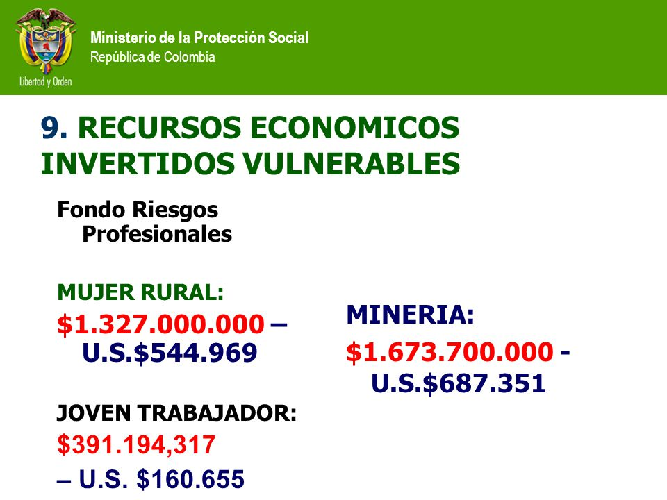 9. RECURSOS ECONOMICOS INVERTIDOS VULNERABLES