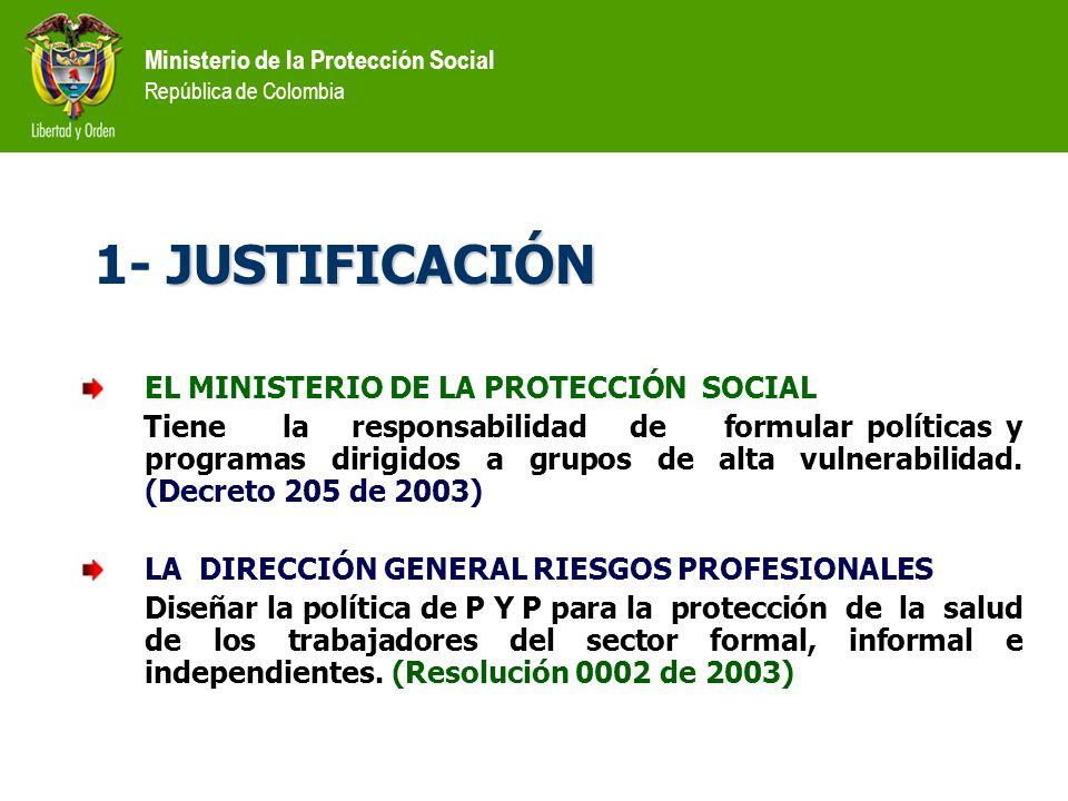 1- JUSTIFICACIÓN EL MINISTERIO DE LA PROTECCIÓN SOCIAL