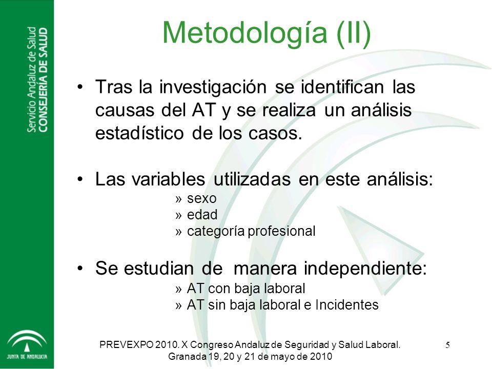 Metodología (II) Tras la investigación se identifican las causas del AT y se realiza un análisis estadístico de los casos.