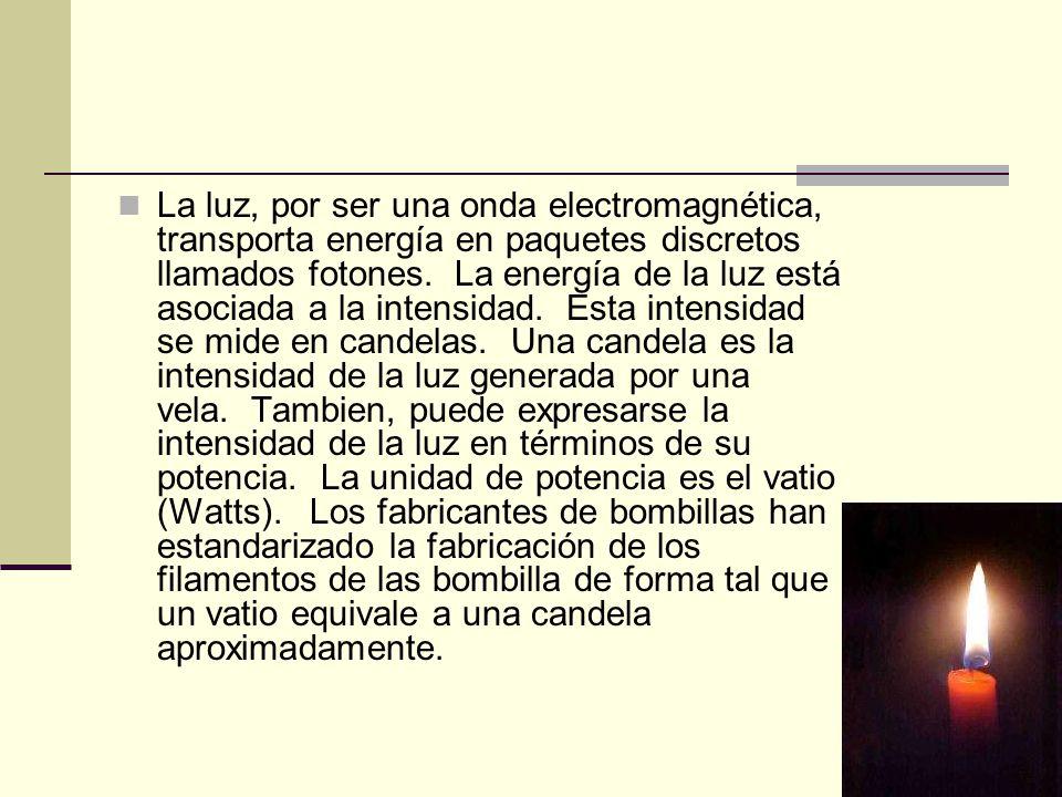La luz, por ser una onda electromagnética, transporta energía en paquetes discretos llamados fotones. La energía de la luz está asociada a la intensidad. Esta intensidad se mide en candelas. Una candela es la intensidad de la luz generada por una vela. Tambien, puede expresarse la intensidad de la luz en términos de su potencia. La unidad de potencia es el vatio (Watts). Los fabricantes de bombillas han estandarizado la fabricación de los filamentos de las bombilla de forma tal que un vatio equivale a una candela aproximadamente.