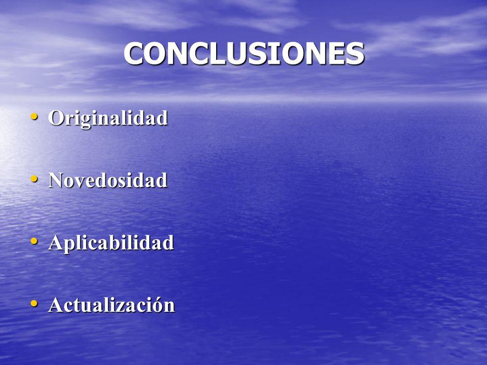 CONCLUSIONES Originalidad Novedosidad Aplicabilidad Actualización