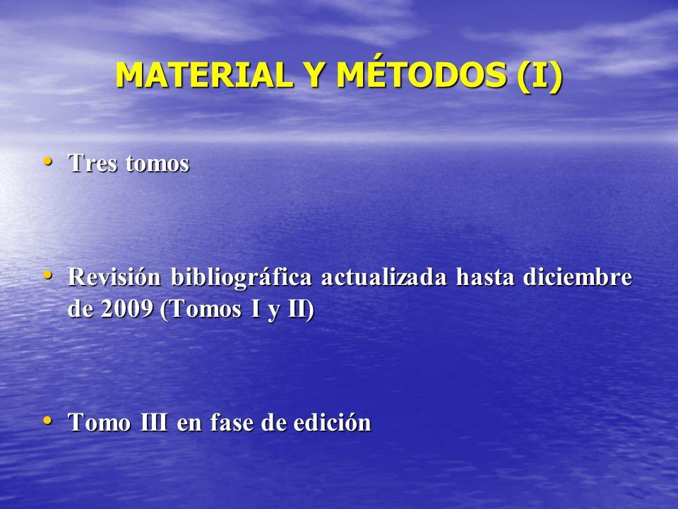 MATERIAL Y MÉTODOS (I) Tres tomos