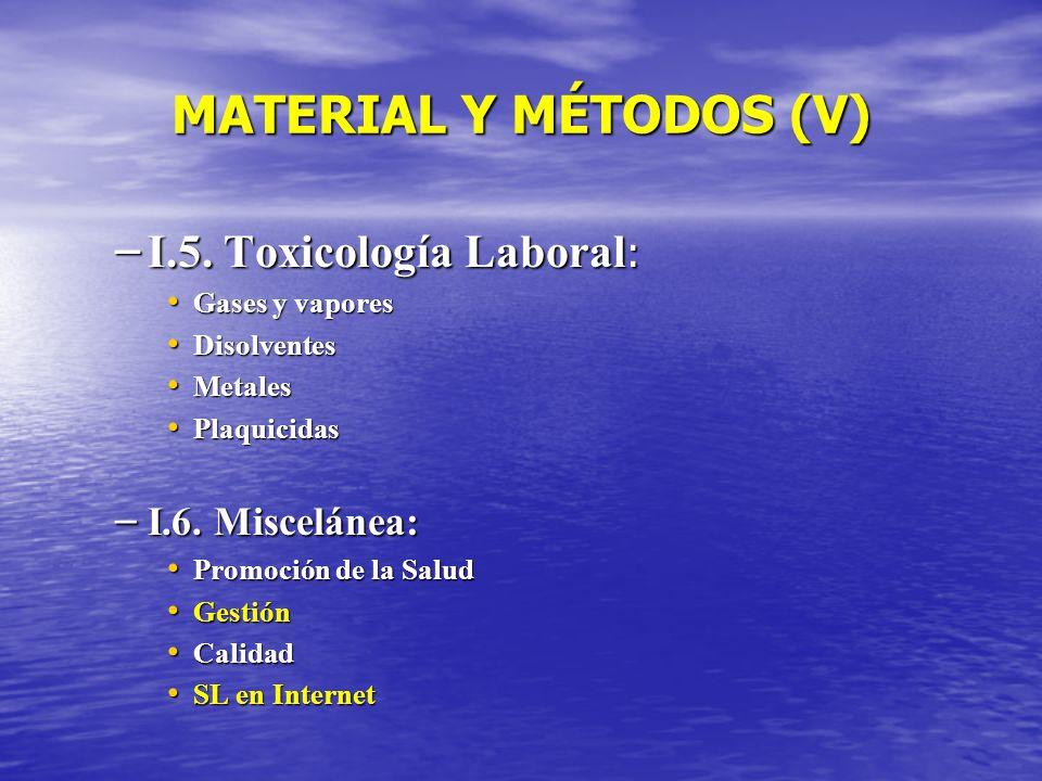 MATERIAL Y MÉTODOS (V) I.5. Toxicología Laboral: I.6. Miscelánea: