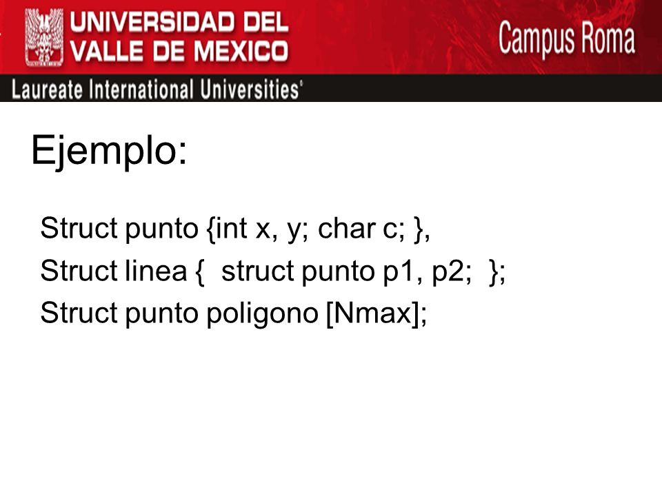 Ejemplo: Struct punto {int x, y; char c; },
