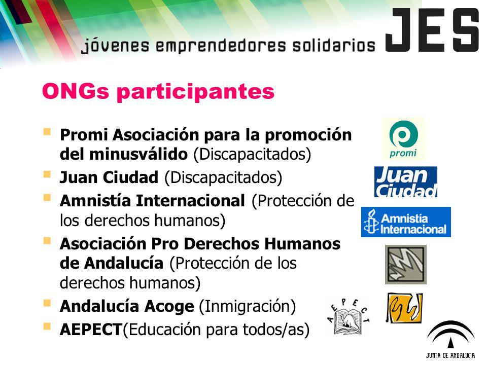 ONGs participantes Promi Asociación para la promoción del minusválido (Discapacitados) Juan Ciudad (Discapacitados)