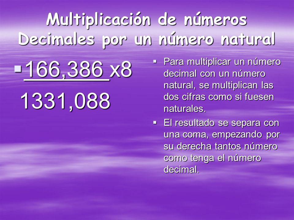 Multiplicación de números Decimales por un número natural