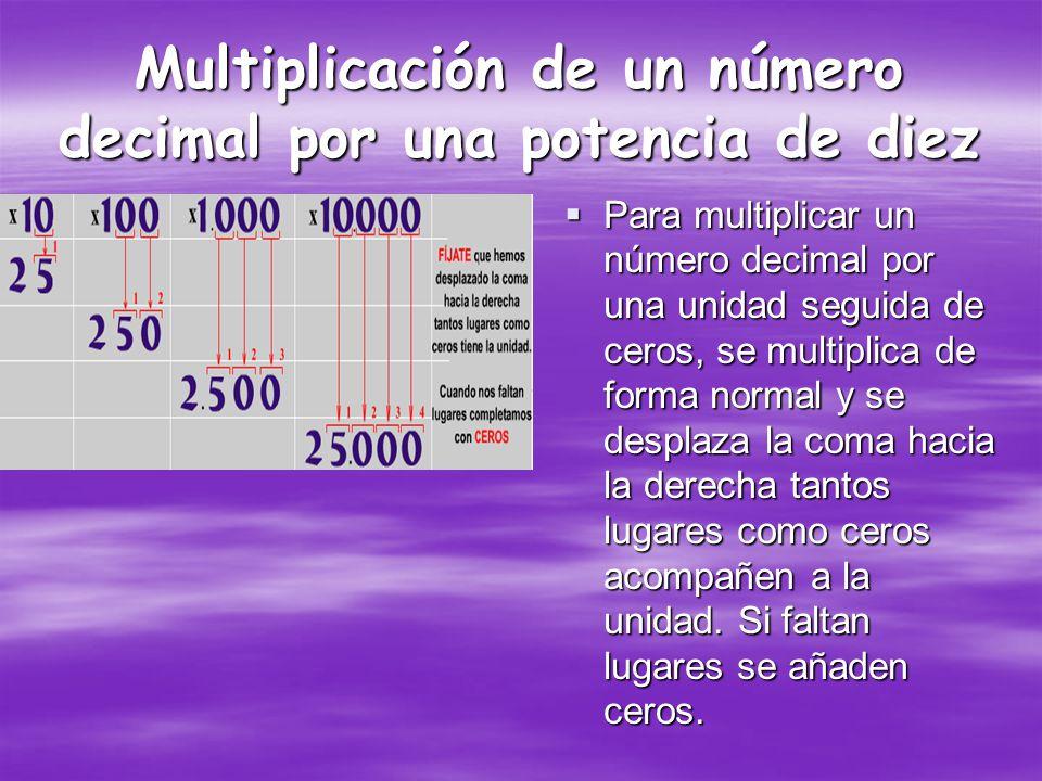Multiplicación de un número decimal por una potencia de diez
