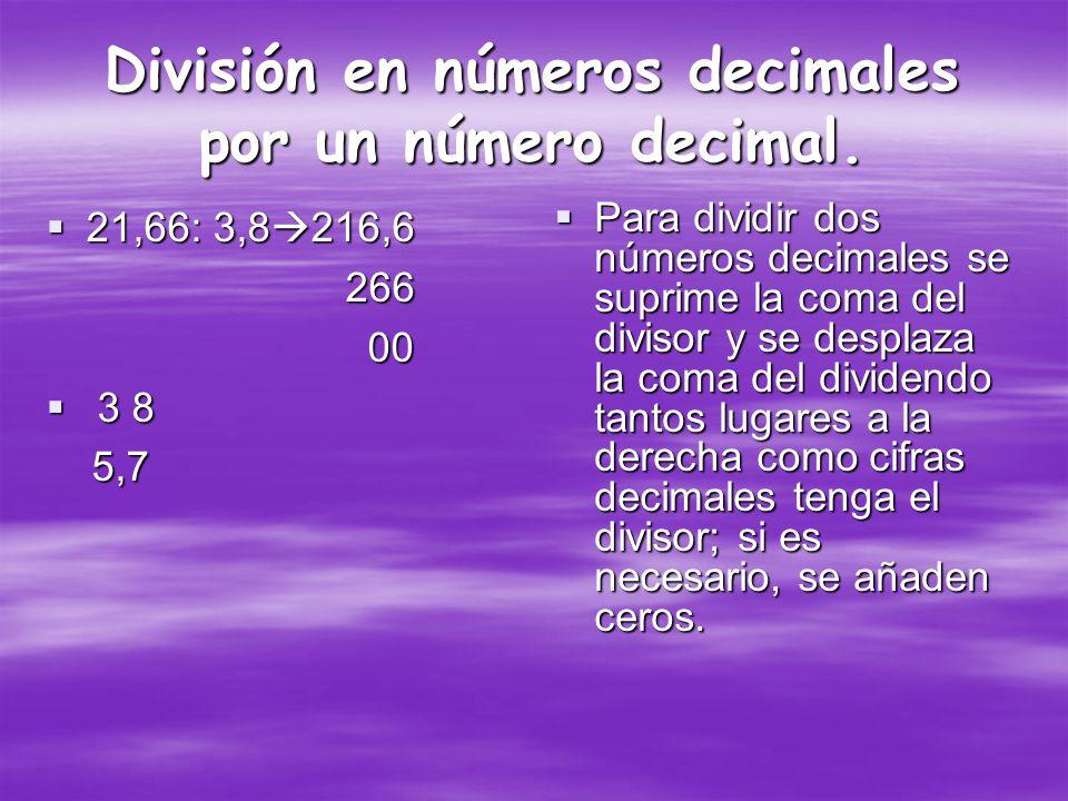 División en números decimales por un número decimal.