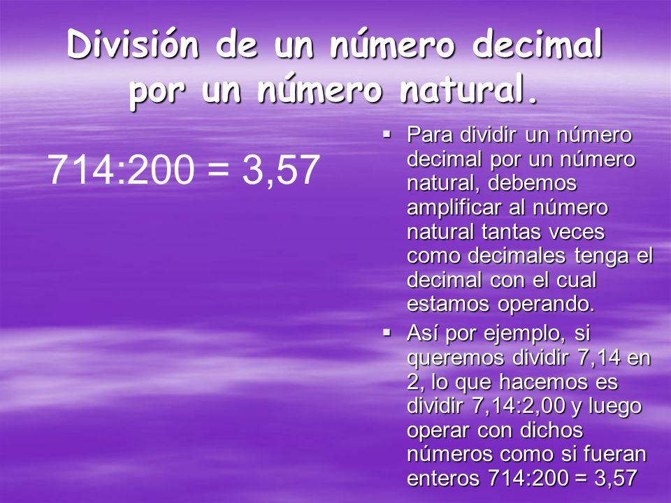 División de un número decimal por un número natural.