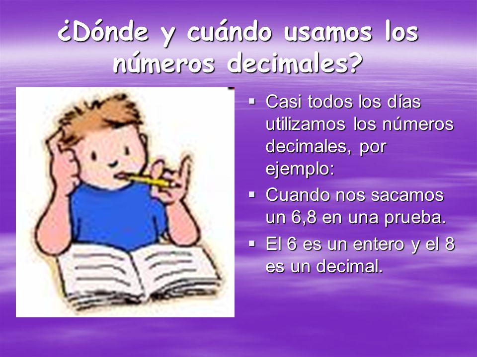 ¿Dónde y cuándo usamos los números decimales