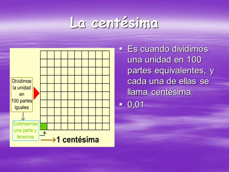 La centésima Es cuando dividimos una unidad en 100 partes equivalentes, y cada una de ellas se llama centésima.