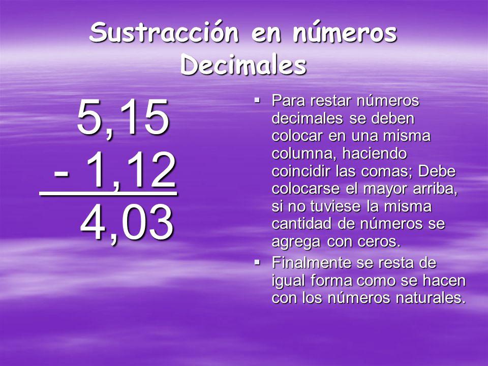 Sustracción en números Decimales