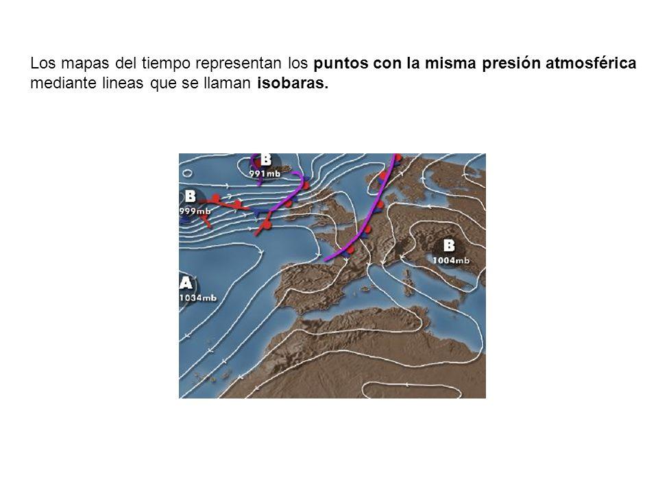 Los mapas del tiempo representan los puntos con la misma presión atmosférica