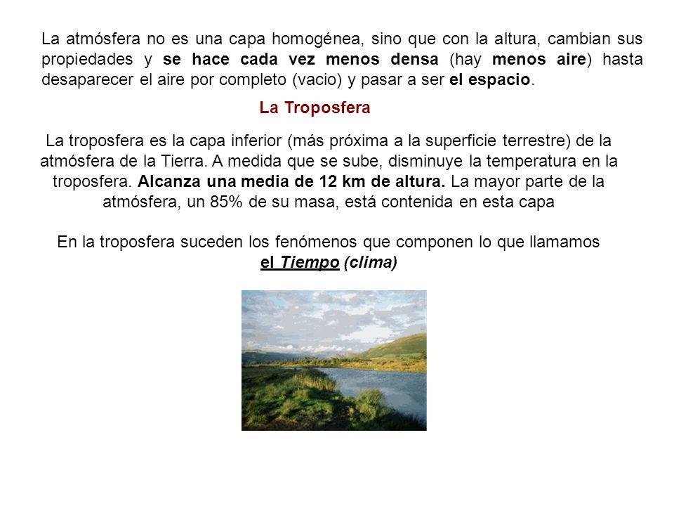 En la troposfera suceden los fenómenos que componen lo que llamamos