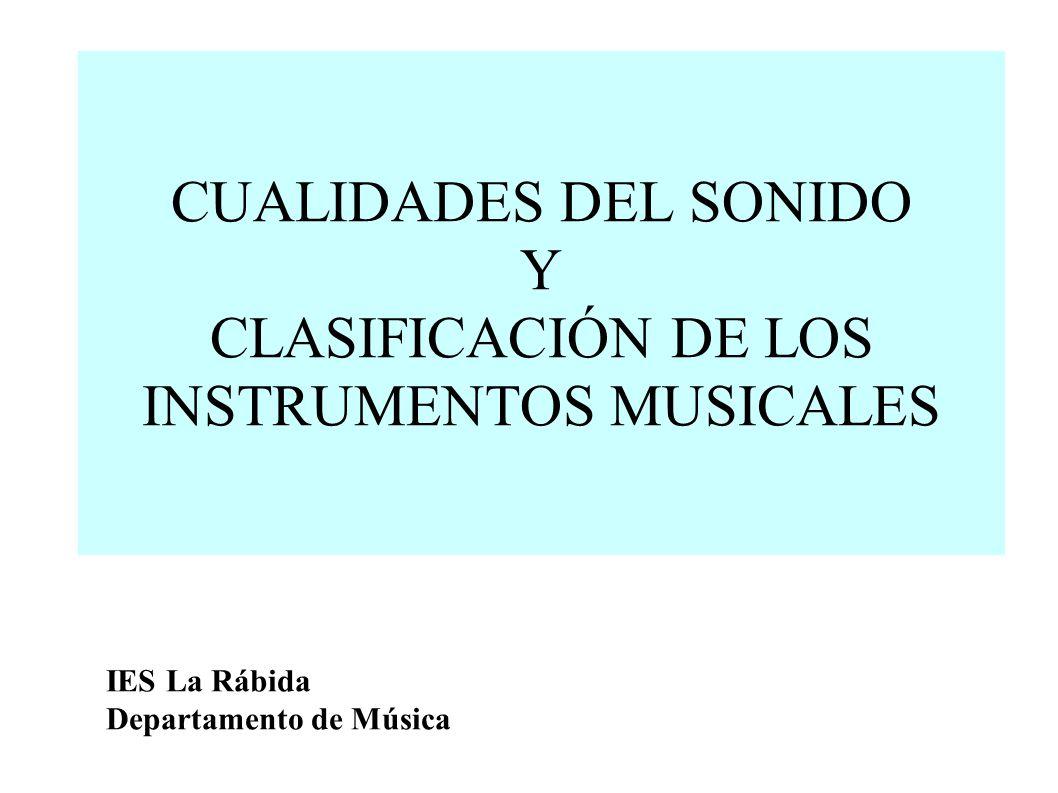CUALIDADES DEL SONIDO Y CLASIFICACIÓN DE LOS INSTRUMENTOS MUSICALES