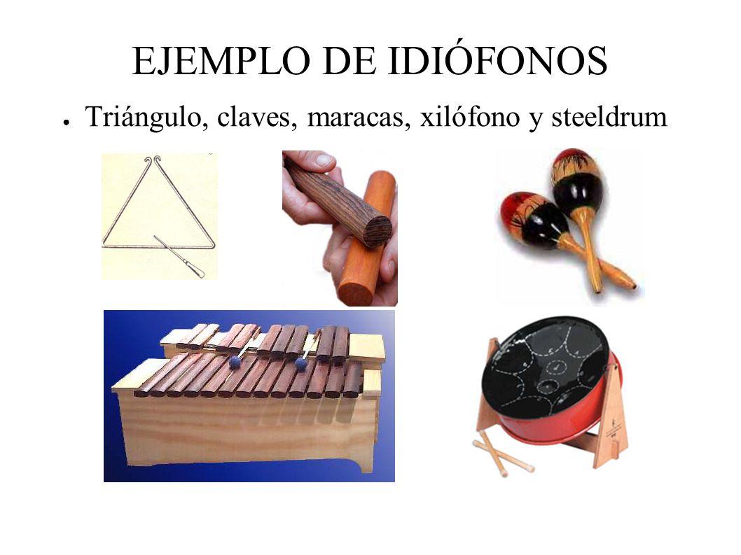EJEMPLO DE IDIÓFONOS Triángulo, claves, maracas, xilófono y steeldrum