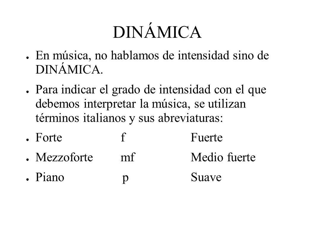 DINÁMICA En música, no hablamos de intensidad sino de DINÁMICA.