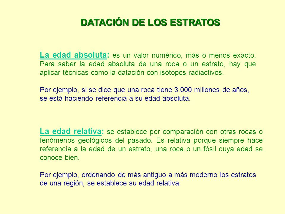 DATACIÓN DE LOS ESTRATOS